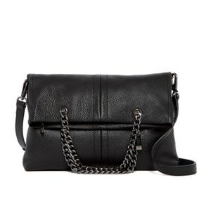 NWT Sorial Helena Foldover Black Leather Clutch